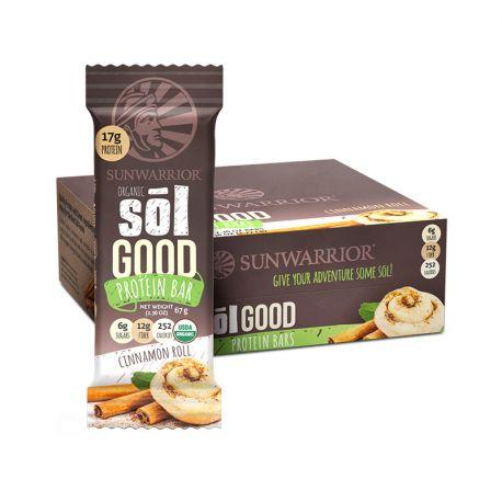 Barre énergétique Bio Protéinée, Sunwarrior Sol GOOD  (Pécan-Cannelle) Boite de 12