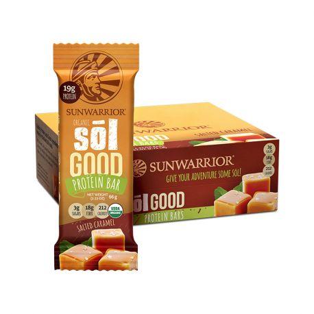 Barre Energétique protéinée Bio, Sunwarrior (Sucrée-Salée) Goût Caramel-Boite de 12.