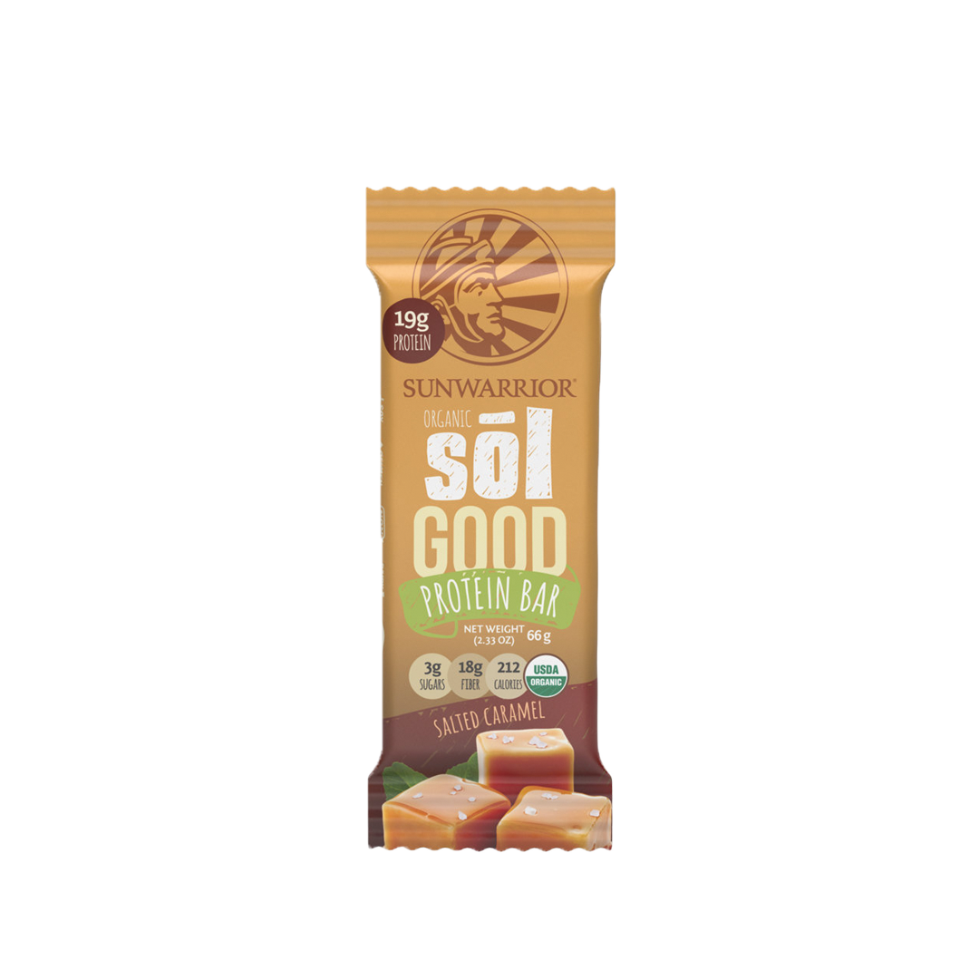 Barre énergétique Bio Hyperprotéiné, Sunwarrior Sol GOOD ( Caramel Salé) 66g.